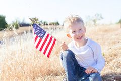 Boy celebrating 4th of July Royalty Free Stock Image
