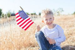 Boy celebrating 4th of July Royalty Free Stock Photography