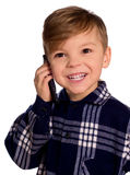 Boy and cell phone Stock Photos