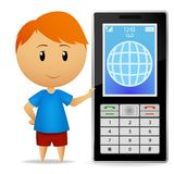 Boy with cell phone. Vector illustration. Smiling cartoon boy with big cell phone Royalty Free Stock Images