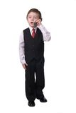 Boy on cell phone royalty free stock images
