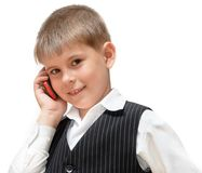 A boy with a cell phone Royalty Free Stock Image