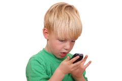 Boy with cell phone Stock Photo