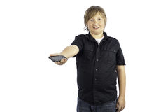 Boy with cell phone Stock Image