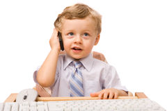 Boy with cell phone Royalty Free Stock Photos