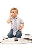 Boy with cell phone Royalty Free Stock Photography