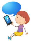 A boy with cell phone. Illustration of a boy with cell phone on a white Royalty Free Stock Images