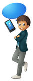 Boy and cell phone Stock Images