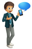 Boy and cell phone. Illustration of a boy and a cell phone on a white background Royalty Free Stock Photos