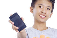 Boy With Cellphone Stock Photo