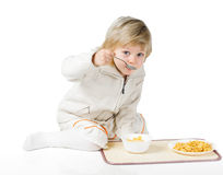 Boy and cereals Royalty Free Stock Photo