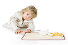 Boy and cereals Stock Photo