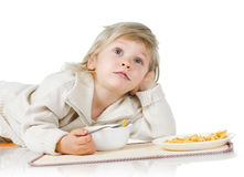 Boy and cereals Royalty Free Stock Images