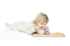 Boy and cereals Stock Photography