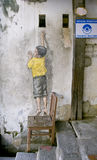 Boy on chair Street Art Mural in Georgetown, Penang, Malaysia Stock Photography