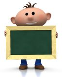 Boy with chalkboard. 3d rendering/illustration of a cute cartoon boy holding a chalkboard in front of him Royalty Free Stock Photography
