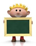 Boy with chalkboard. 3d rendering/illustration of a cute cartoon boy with blond hair holding a chalkboard in front of him Stock Image