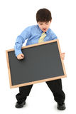 Boy with Chalkboard Royalty Free Stock Images