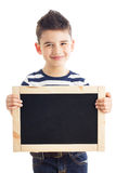 Boy with chalkboard Stock Photos
