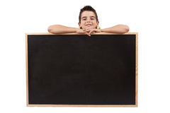 Boy with chalkboard Stock Photo