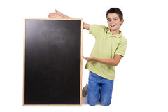 Boy with chalkboard Royalty Free Stock Photo