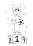 Boy champion. Kids coloring book Royalty Free Stock Photography