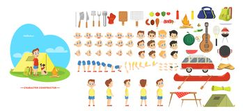 Boy character on barbeque set for animation vector illustration