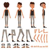 Boy character creation set, student boy constructor with different poses, gestures, shoes vector Illustrations Royalty Free Stock Images
