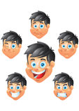 Boy character, face expressions Stock Images