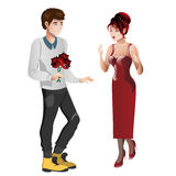 Boy character gives gift bouquet flowers to girl character. Boy gives gift bouquet flowers to girl. Vector flat cartoon illustration stock illustration