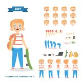 Boy character set. Boy character set with poses and eothions Royalty Free Stock Photography