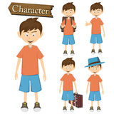 Boy character set vector illustration Stock Images