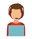 boy character using laptop and headphones Stock Photography