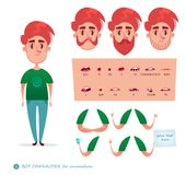 Boy character for your scenes. Parts of body template for design work and animation. Funny cartoon.Vector illustration isolated on white background. Set for Stock Photo