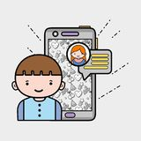Boy chatting with girl in whatsapp chat bubble Stock Photography