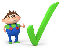 Boy with check mark stock photography