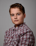 Boy in checkered shirt Royalty Free Stock Photos