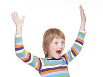 Boy Cheering with his Arms up. Isolated on White Royalty Free Stock Photography