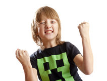 Boy Cheering with his Arms up. Isolated on White Stock Photography