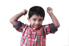 Boy cheering up. A small boy cheering up on an isolated background Stock Photography