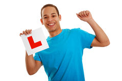 Free Boy Cheering With L Plate Stock Photo - 13830640