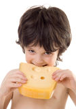The boy with a cheese. The boy with a slice of cheese Stock Image
