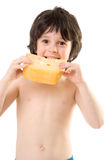 The boy with a cheese. The boy with a slice of cheese Stock Photography
