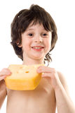 The boy with a cheese. The boy with a slice of cheese Stock Photo