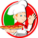 Boy chef cartoon holding pizza Royalty Free Stock Images