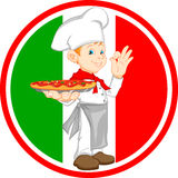 Boy chef cartoon holding pizza Stock Photos
