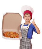 Boy Chef Hold Box With Pizza Stock Photography