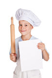 Boy Chef is holding with a sheet of paper Stock Images