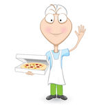 Boy Chef Showing A Delicious Pizza Stock Photo