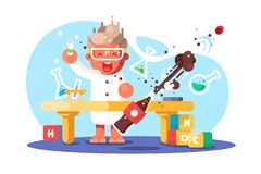 Boy chemist. And kids future dream professional occupation. Happy guy doing research science experiment with tube in lab vector illustration. Young generation vector illustration